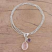 Featured review for Rose quartz and amethyst charm bracelet, Twinkling Harmony