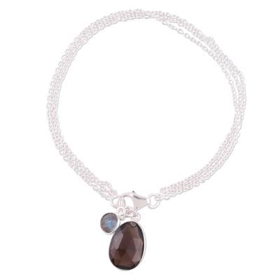 Smoky quartz and labradorite charm bracelet, 'Twinkling Harmony' - Smoky Quartz and Labradorite Charm Bracelet from India