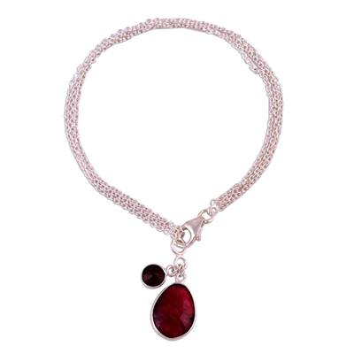 Ruby and Garnet Sterling Silver Charm Bracelet from India