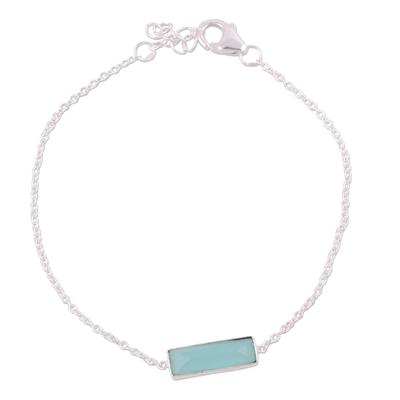 Chalcedony pendant bracelet, 'Elegant Prism' - Chalcedony and Sterling Silver Bracelet from India