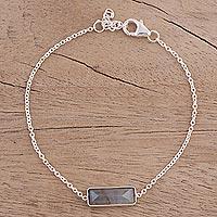 Labradorite pendant bracelet, 'Elegant Prism' - Labradorite and 925 Silver Pendant Bracelet from India