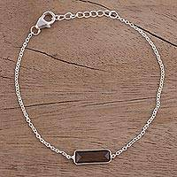 Smoky quartz pendant bracelet, 'Elegant Prism' - Smoky Quartz and 925 Silver Pendant Bracelet from India