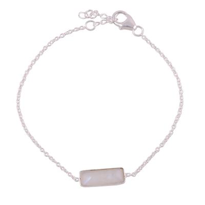 Rainbow moonstone pendant bracelet, 'Elegant Prism' - Rainbow Moonstone Pendant Bracelet from India