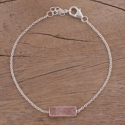 Rose quartz pendant bracelet, 'Elegant Prism' - Rose Quartz and 925 Silver Pendant Bracelet from India
