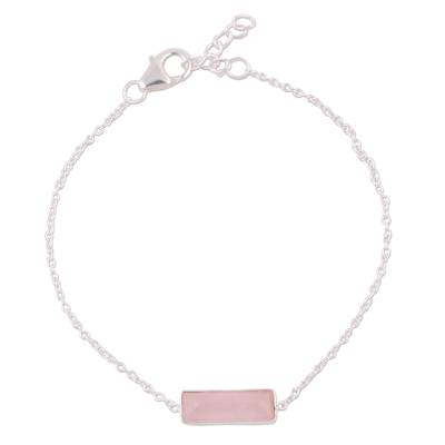 Rose Quartz and 925 Silver Pendant Bracelet from India
