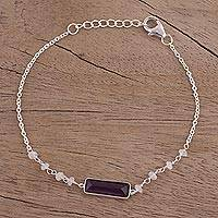 Amethyst and rainbow moonstone pendant bracelet, 'Magical Prism'