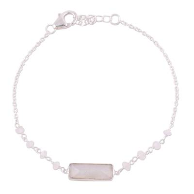 Rainbow moonstone pendant bracelet, 'Magical Prism' - Rainbow Moonstone Beaded Pendant Bracelet from India