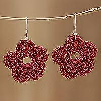 Crocheted cotton dangle earrings, 'Cherry Dance' - Cherry Red Cotton Crochet Flower Dangle Earrings from India