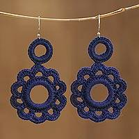 Crocheted cotton dangle earrings, 'Ocean's Tale' - Cotton Crochet Indigo Blue Flower Dangle Earrings from India