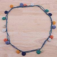 Long cotton station necklace, 'Delhi Bliss' - Multicolor Cotton Crochet Station Necklace from India