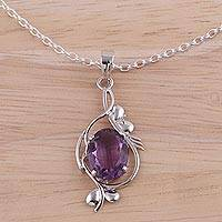 Rhodium plated amethyst pendant necklace, 'Royal Dream' - Rhodium Plated Faceted Amethyst Necklace from India