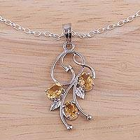 Rhodium plated citrine pendant necklace, 'Prosperous Sparkle' - Rhodium Plated 925 Silver Citrine Leaf Necklace from India