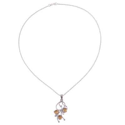 Rhodium Plated 925 Silver Citrine Leaf Necklace from India
