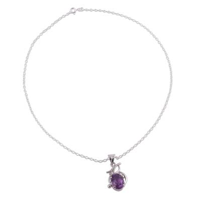 Amethyst pendant necklace, 'Lilac Queen' - Amethyst Pendant Rhodium Plated Sterling Silver Necklace