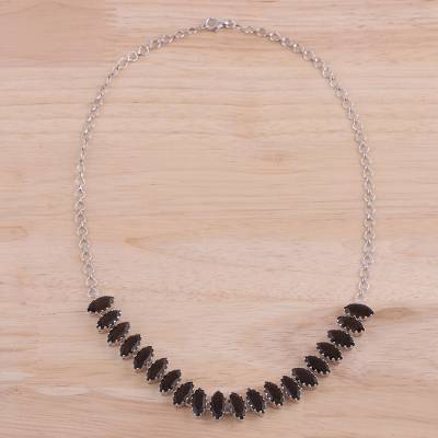 Rhodium plated smoky quartz pendant necklace, 'Rich Sparkle' - Rhodium Plated Smoky Quartz Pendant Necklace from India