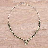 Rhodium plated peridot pendant necklace, 'Glamorous Drops' - Rhodium Plated Peridot Pendant Necklace from India