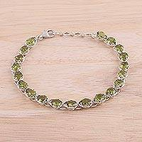 Rhodium plated peridot link bracelet, 'Glamorous Drops' - Rhodium Plated Peridot Link Bracelet from India