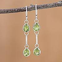 Rhodium plated peridot dangle earrings, 'Glamorous Drops' - Rhodium Plated Peridot Dangle Earrings from India