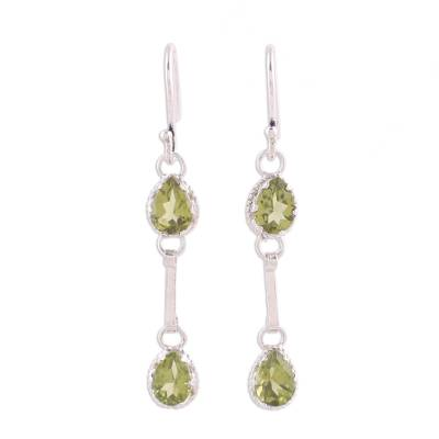 Indian Peridot Rhodium Plated Sterling Silver Dangle Earring