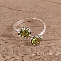 Rhodium plated peridot wrap ring, 'Glamorous Drops' - Rhodium Plated Sterling Silver Peridot Wrap Ring from India