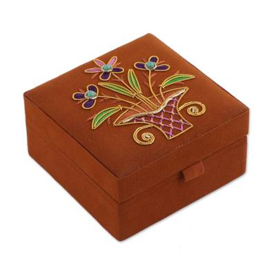 Floral Embroidered Jewelry Box in Pumpkin from India Delightful