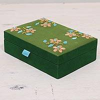 Cotton jewelry box, 'Floral Touch' - Beaded Cotton Jewelry Box in Olive and Viridian from India