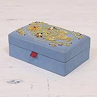 Embroidered jewelry box, 'Golden Floral Dance' - Floral Embroidered Jewelry Box in Sky Blue from India