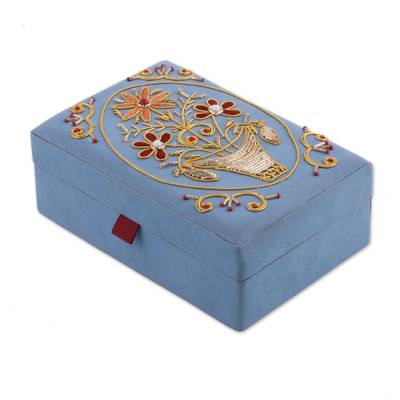 Floral Embroidered Jewelry Box in Sky Blue from India Golden