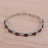 Rhodium plated garnet link bracelet, 'Red Sunbeam' - Rhodium Plated 925 Silver Garnet Link Bracelet from India