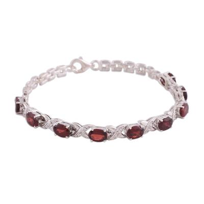 Rhodium plated garnet link bracelet, 'Red Sunbeam' - Rhodium Plated 925 Silver Garnet Link Bracelet from India
