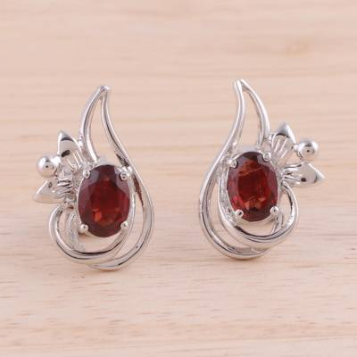 Rhodium plated garnet button earrings, 'Classic Paisley' - Rhodium Plated Garnet Paisley-Shaped Earrings from India