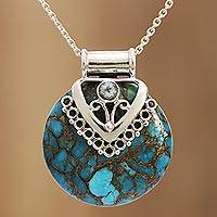 Blue topaz pendant necklace, 'Ocean's Glory' - Blue Topaz and Composite Turquoise Sterling Silver Necklace