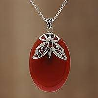 Carnelian and garnet pendant necklace, 'Brilliant Butterfly' - Carnelian and Garnet Sterling Silver Pendant Necklace