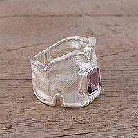 Rhodium plated amethyst single stone ring, 'Magic Waves' - Rhodium Plated Wavy Amethyst Single Stone Ring from India