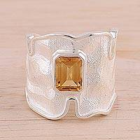 Rhodium plated citrine single stone ring, 'Magic Waves' - Rhodium Plated Wavy Citrine Single Stone Ring from India