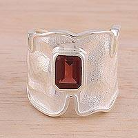 Rhodium plated garnet single stone ring, 'Magic Waves' - Rhodium Plated Wavy Garnet Single Stone Ring from India
