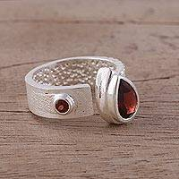 Garnet wrap ring, 'Shimmering Symphony' - Garnet and Rhodium-Plated Sterling Silver Wrap Ring