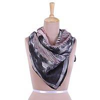 Hand painted silk Scarf, 'Avian Harmony in Slate' - Handwoven Bird-Themed Silk Scarf in Slate from India