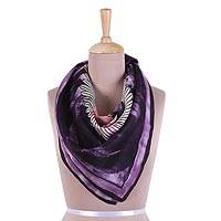 Hand painted silk scarf, 'Avian Harmony in Eggplant' - Handwoven Bird-Themed Silk Scarf in Eggplant from India