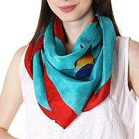 Hand painted silk scarf, 'Fantasy Birds' - Bird-Theme Silk Scarf in Turquoise and Poppy from India