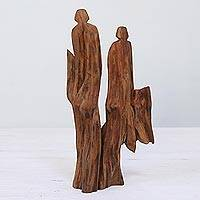 Reclaimed wood sculpture, 'Parents' - Unique Hand Carved Tun Driftwood Sculpture from India