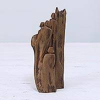 Reclaimed wood sculpture, 'Pilgrimage' - Unique Hand Carved Reclaimed Driftwood Sculpture from India
