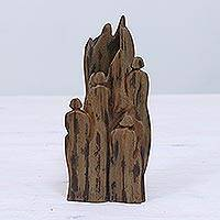 Reclaimed wood sculpture, 'Joy' - Hand Carved Reclaimed Driftwood Sculpture from India