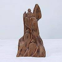 Wood sculpture, 'Expedition' - Hand Carved Reclaimed Tun Wood Sculpture from India