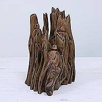 Wood sculpture, 'Hide and Seek II' - Hand Carved Reclaimed Driftwood Sculpture from India