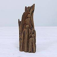 Wood sculpture, 'Harmony' - Hand Carved Reclaimed Sal Driftwood Sculpture from India