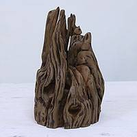 Reclaimed wood sculpture, 'Living in Harmony' - Reclaimed Indian Sal Wood Signed Unique Sculpture
