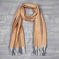 Cashmere scarf, 'Apricot Warmth' - Handwoven Apricot Striped Pashmina Cashmere Scarf from India