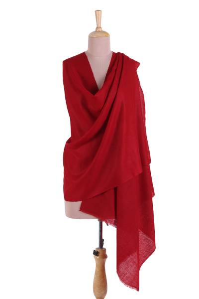 5eadf6aac Cashmere shawl, 'Kashmir Crimson' - Handwoven Crimson Pashmina Cashmere  Wool Shawl from India