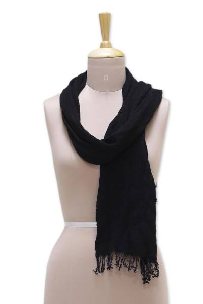 Silk and wool blend scarf, 'Black Muse' - Silk and Wool Blend Black Wrap Scarf from India